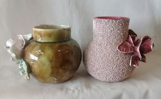 Old Vase with handmade rose & leaves, is this Milton Pottery? 14057610