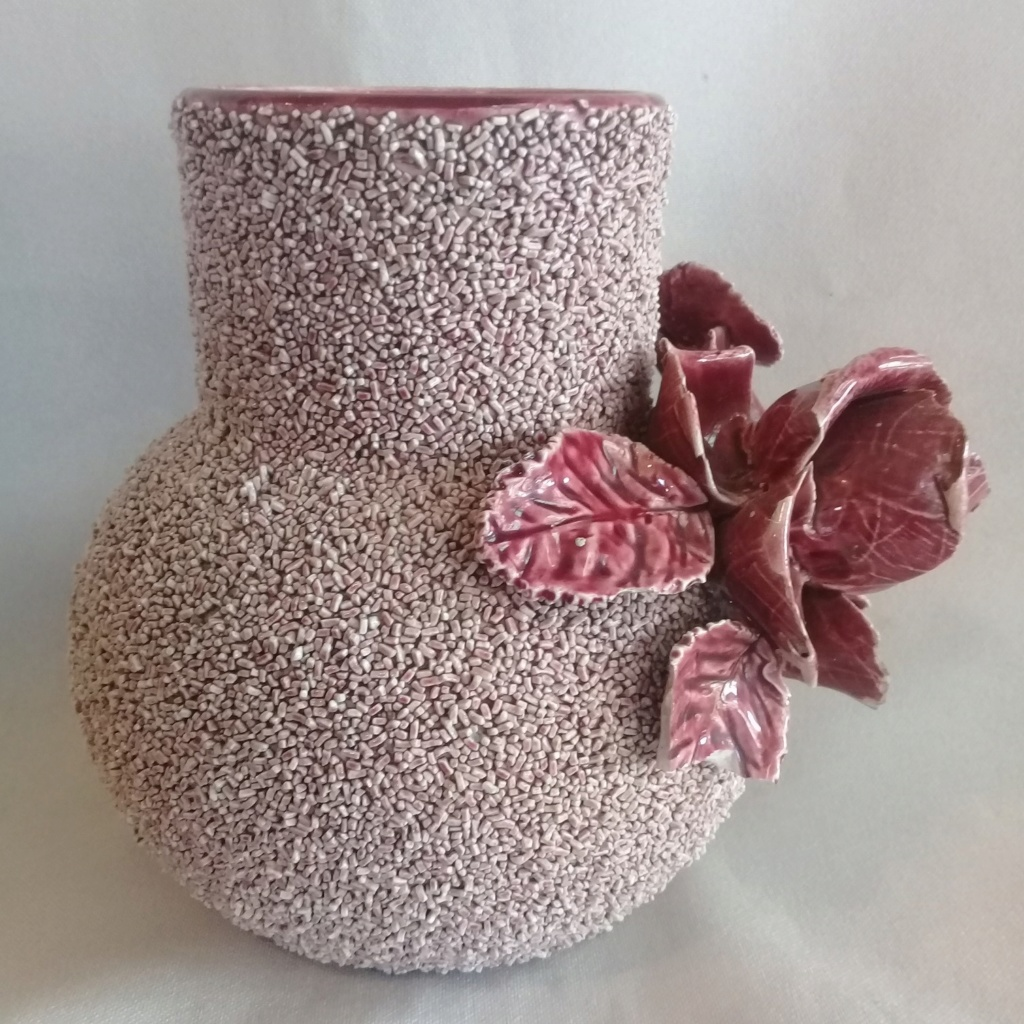 Old Vase with handmade rose & leaves, is this Milton Pottery? 20200513