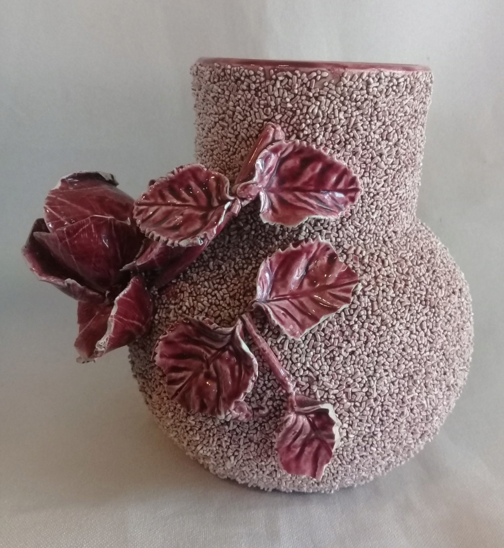 Old Vase with handmade rose & leaves, is this Milton Pottery? 20200515