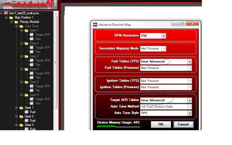 Advance PCV configuration - Gear advance , temp analog input  Pcvmen10