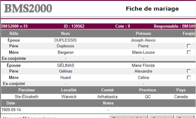 Pierre Isaac Duplessis et Marie-Louise Bergeron Alexis10