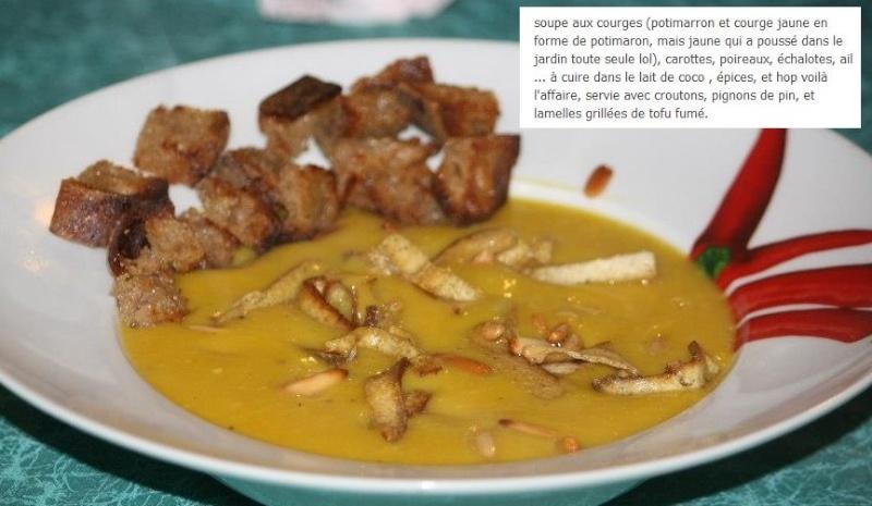soupe aux courges , croutons et lardons de tofu fumé Soupe_10