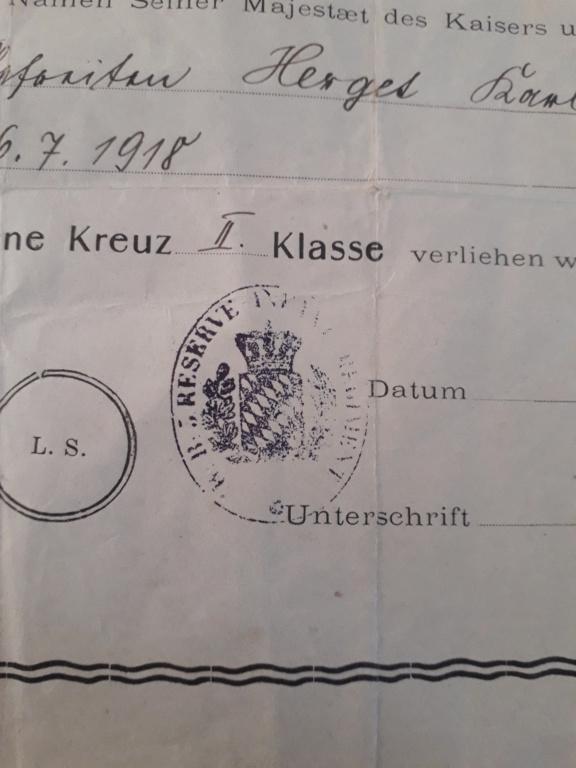 Identification d'unité allemande sur diplôme ek2 WWI 20200712