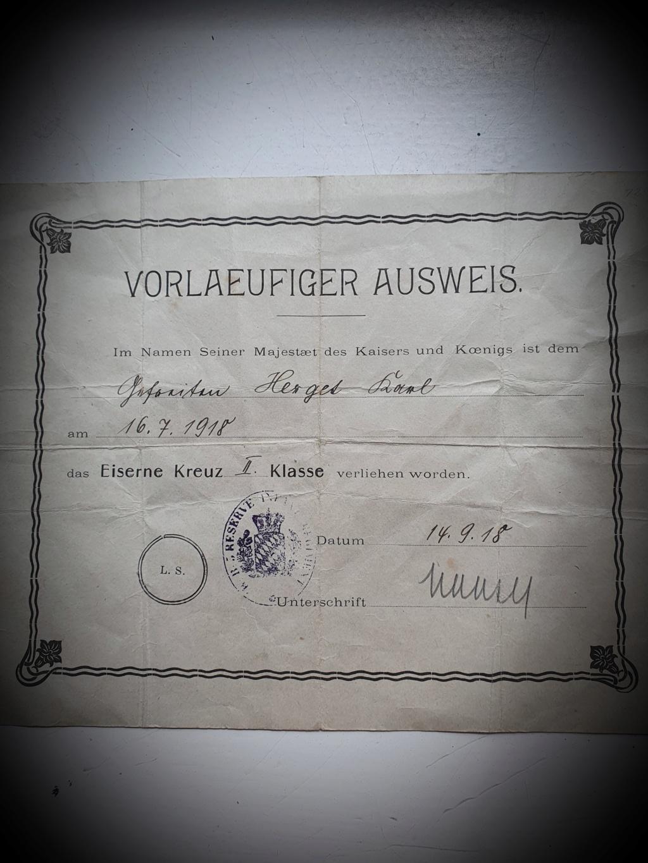 Identification d'unité allemande sur diplôme ek2 WWI 20200713