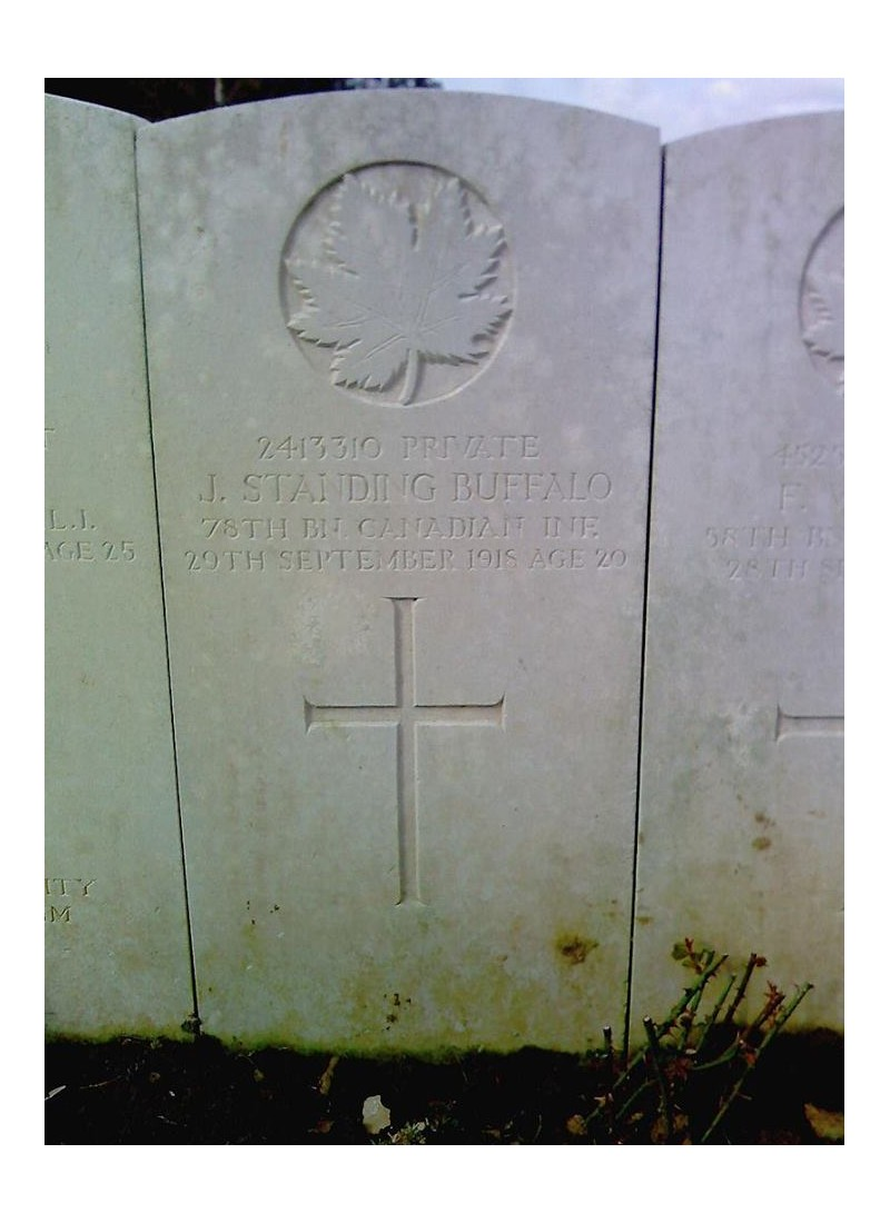 il y a cent ans, le 29 septembre 1918, Joseph Standing Buffalo meurt des suites de ses blessures. 729