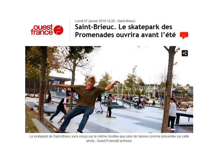 Saint-Brieuc. Le skatepark des Promenades ouvrira avant l'été Sans1282