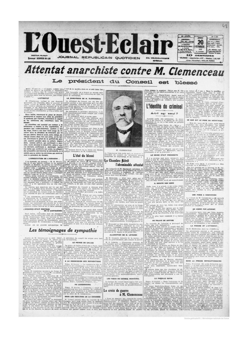 Comment Clemenceau a survécu à un attentat il y a 100 ans Sans1506