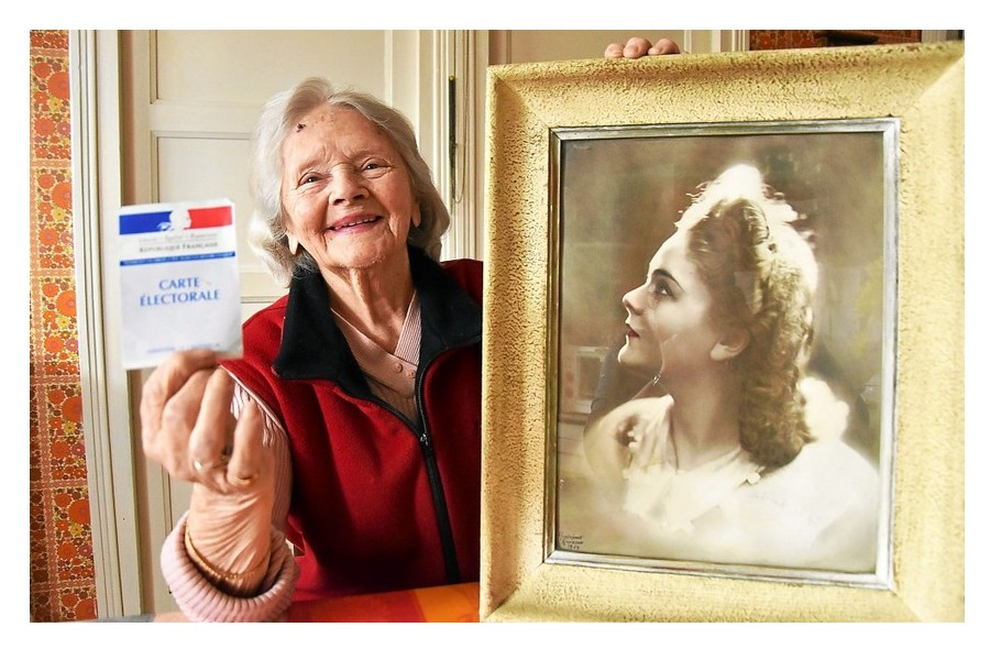Vote des femmes. Sa toute première voix le 29 avril 1945 Sans1949
