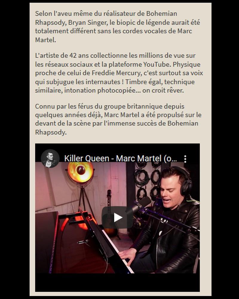 MARC MARTEL   SOSIE VOCAL de FREDIE MERCURY  Sans3901
