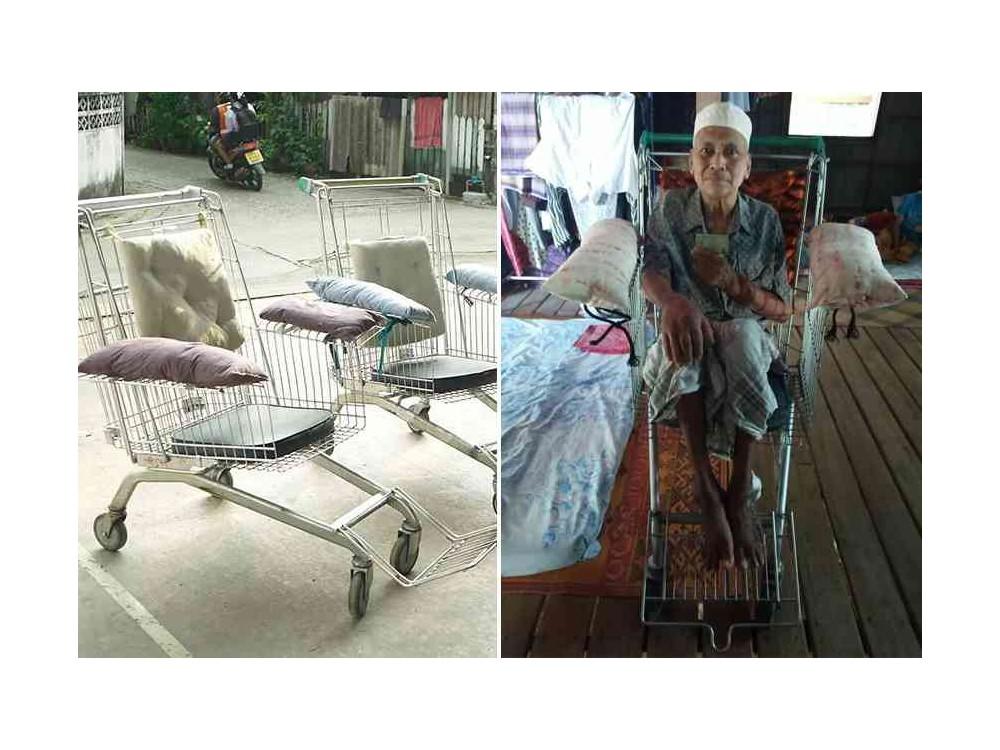 Il transforme les caddies de supermarché en fauteuils roulants pour les plus démunis Sans4503