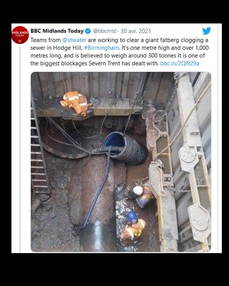 Un fatberg, énorme amas de déchets et de graisse de 300 tonnes, bouche les égouts de Birmingham Sans6017