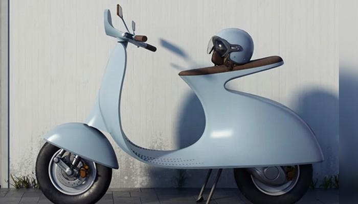 Ce designer réinvente le Vespa avec un concept futuriste et 100% électrique Sans_244