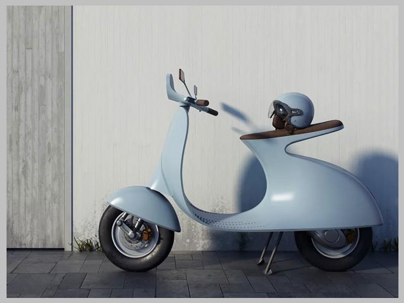 Ce designer réinvente le Vespa avec un concept futuriste et 100% électrique Sans_251