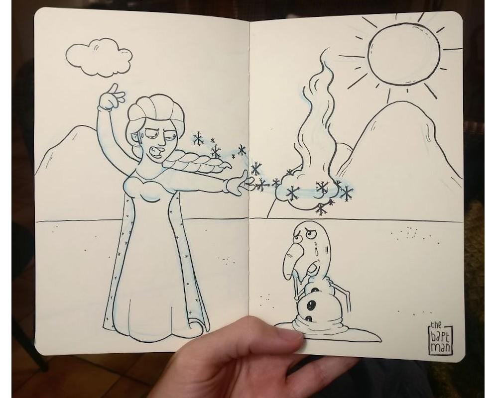 Il illustre les personnages Disney (et autres héros) face à la catastrophe écologique Sans_561