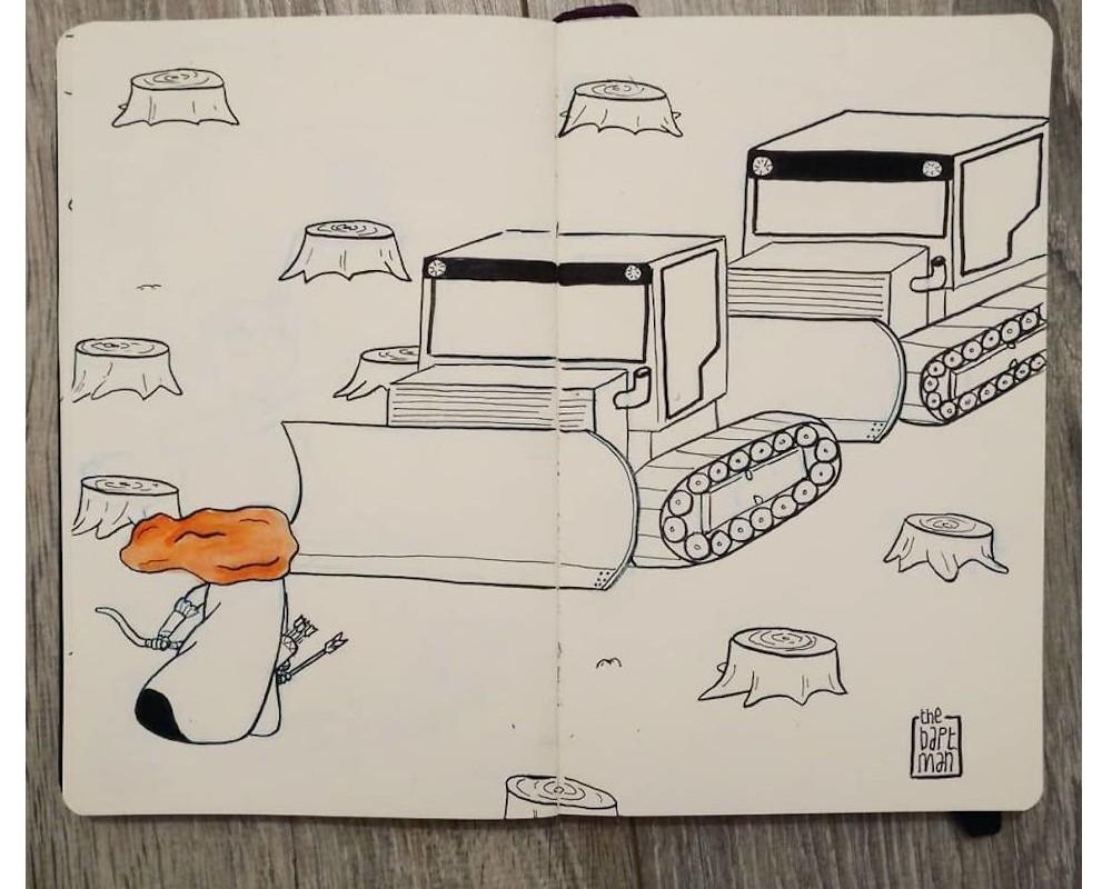 Il illustre les personnages Disney (et autres héros) face à la catastrophe écologique Sans_564
