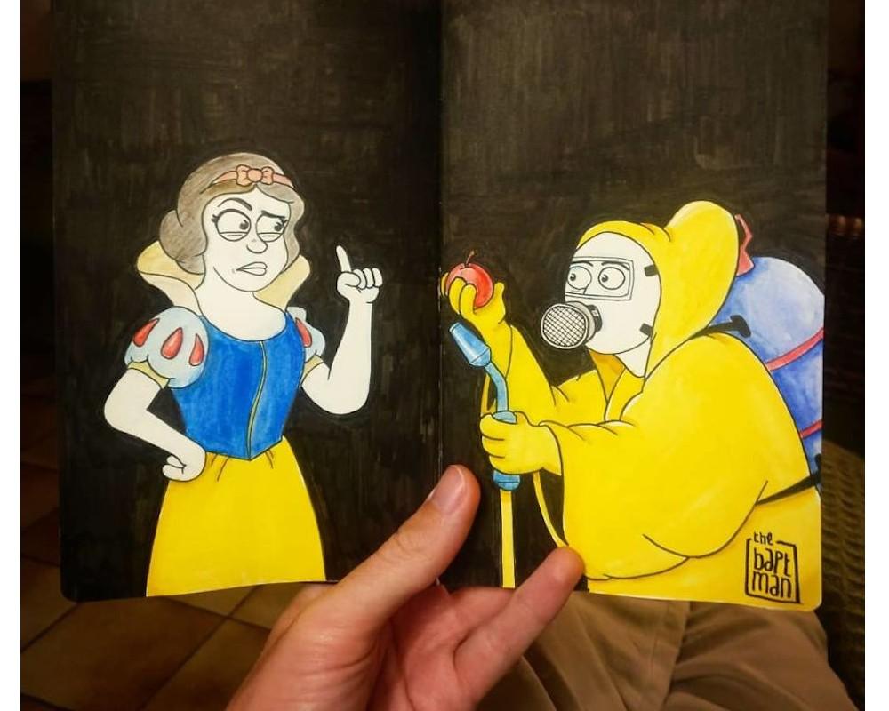 Il illustre les personnages Disney (et autres héros) face à la catastrophe écologique Sans_565