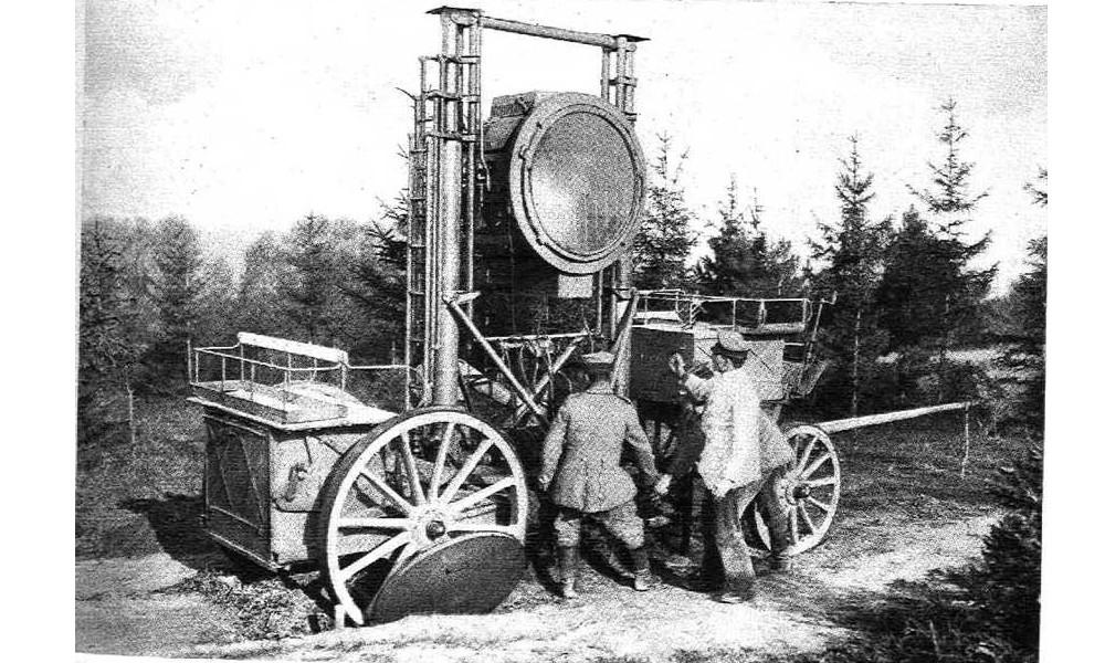 PROJECTEUR ALLEMAND SUR RAIL 1918 Sans_583