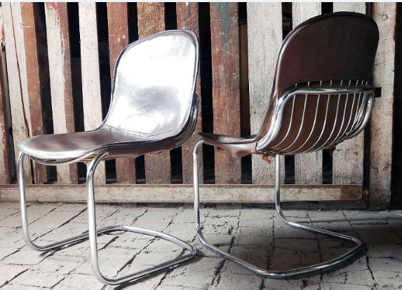Chrome & leather dining chairs Dining11