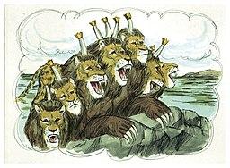 Apocalypse 13 : 1 : La bête à 7 têtes et 10 cornes qui monte de la mer 21-boo12
