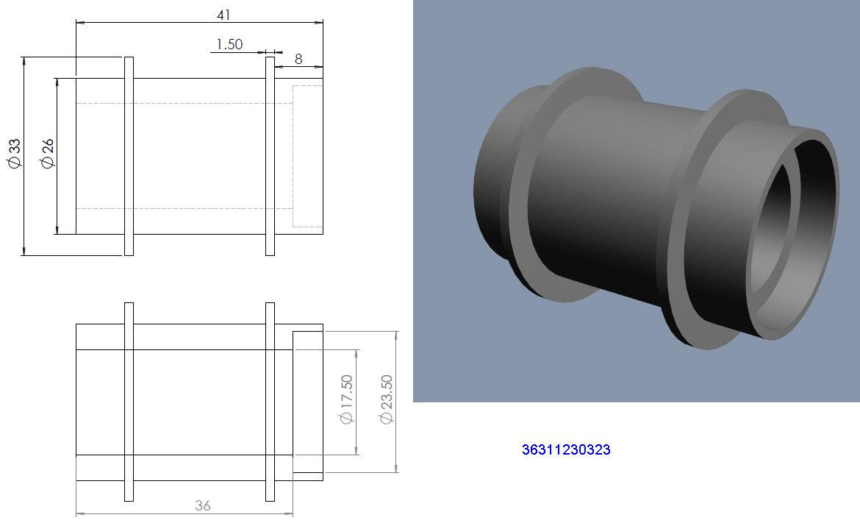 Entretoises roulements roue AR à rayons et tambour help8⁸ 36311210