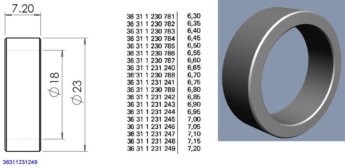 Entretoises roulements roue AR à rayons et tambour help8⁸ 36311211