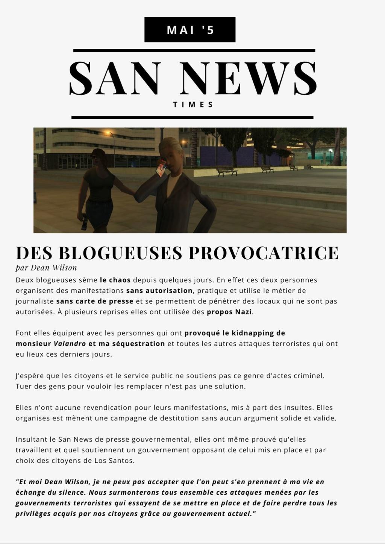 SAN NEWS TIMES   Edition du 5' Mai   Des blogueuses PROVOCATRICE  112