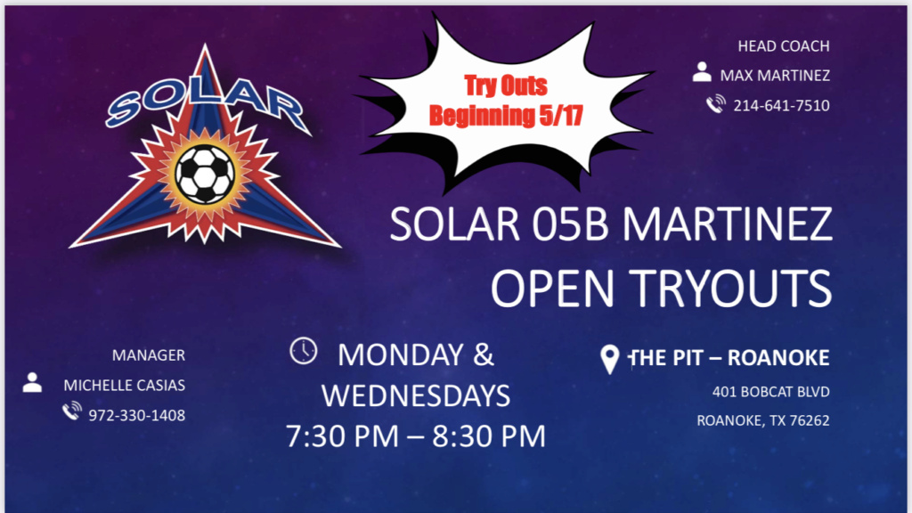 Open Tryouts Sessions Solar West 05B Martinez 343dfe10