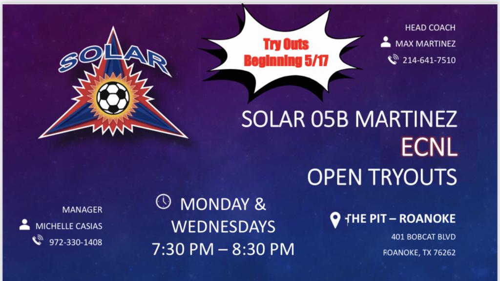 Open Tryout Sessions Solar ECNL U17B Martinez D2ea3c10