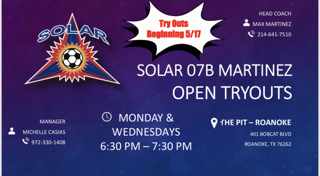 Open Tryouts Sessions Solar West 07B Martinez F919f110