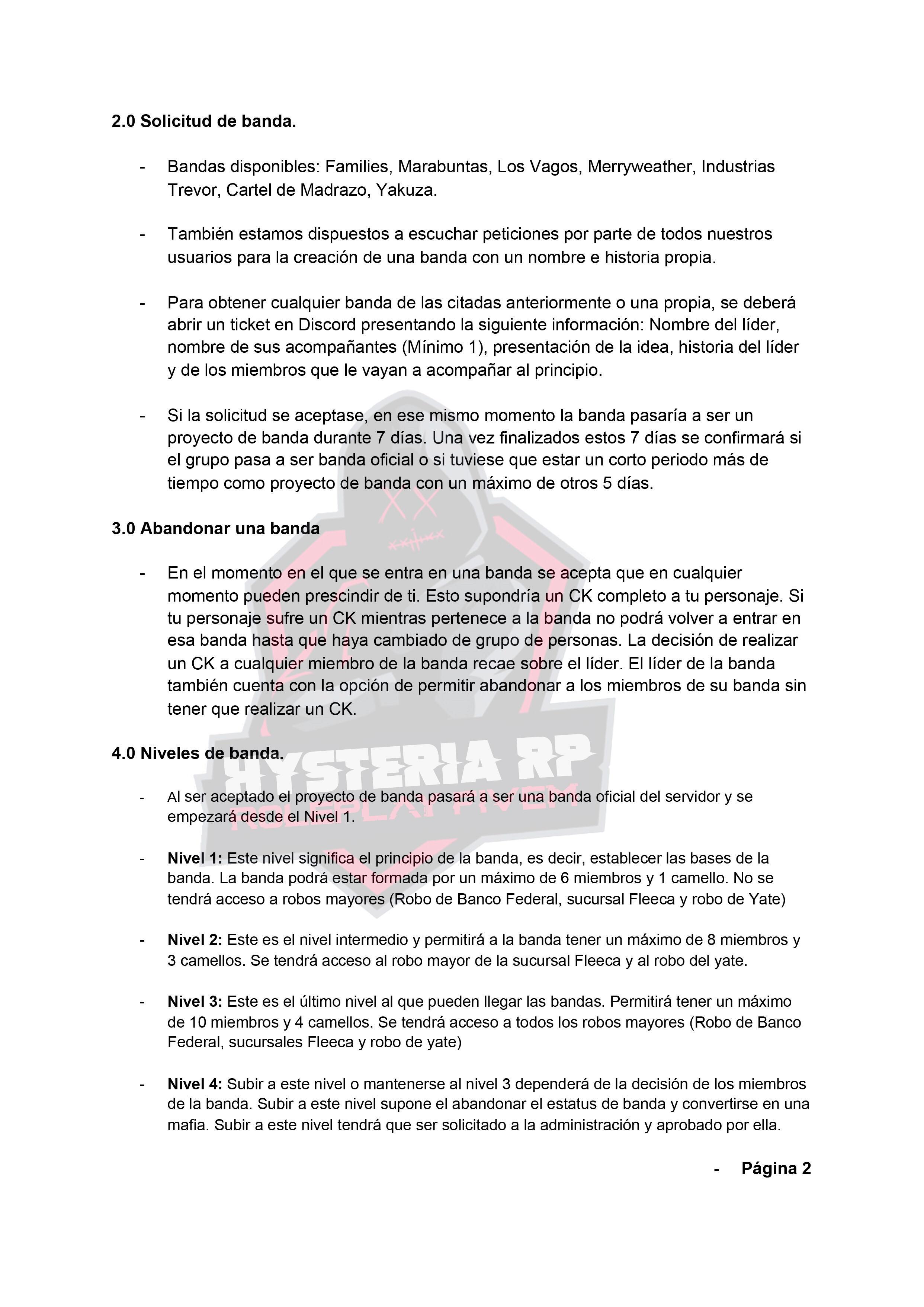 Normativa de Bandas | Hysteria RP Hyster11
