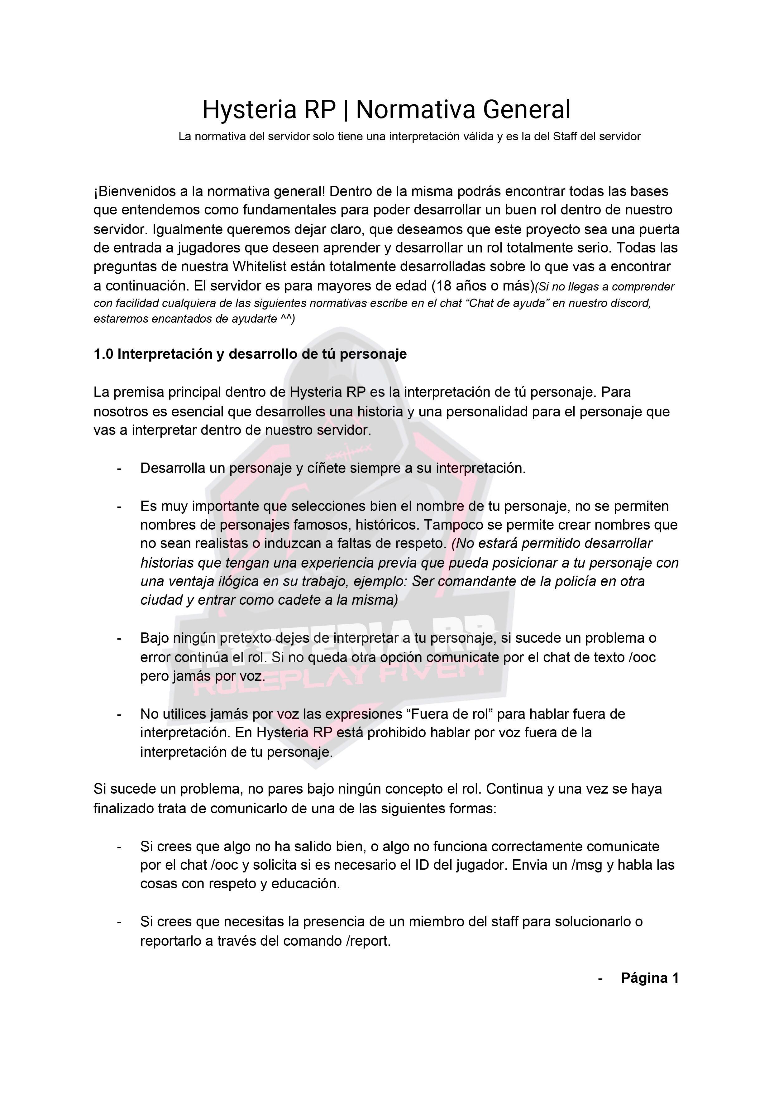 Normativa General | Hysteria RP Normat12