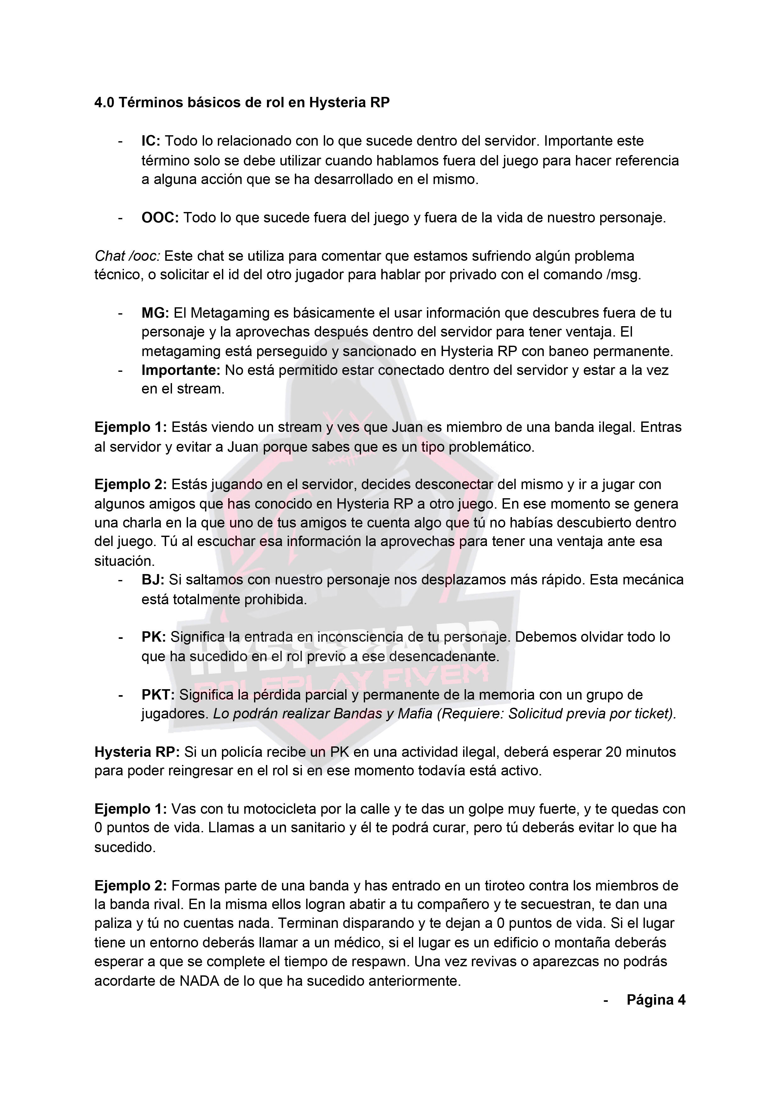 Normativa General | Hysteria RP Normat14