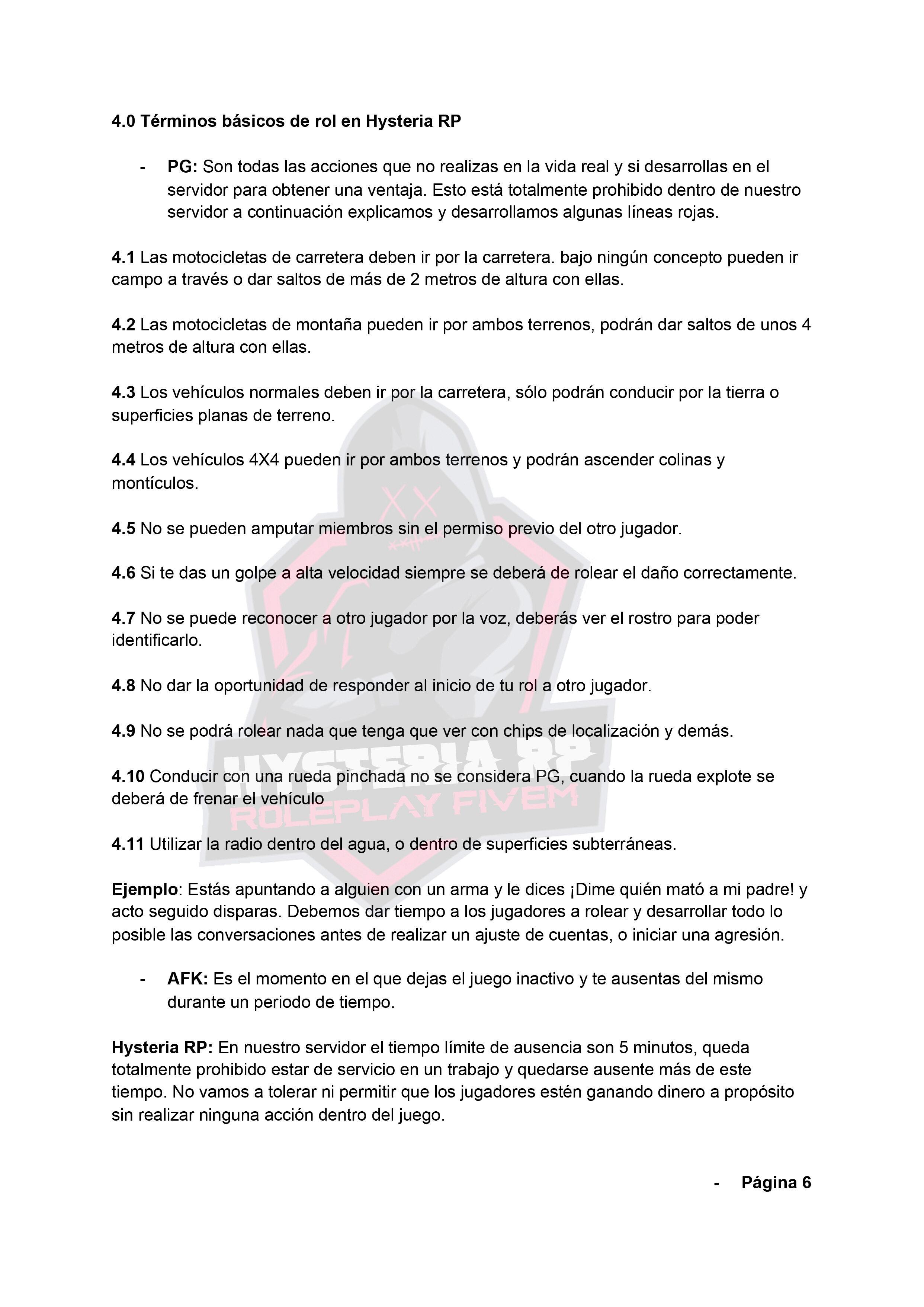 Normativa General | Hysteria RP Normat15