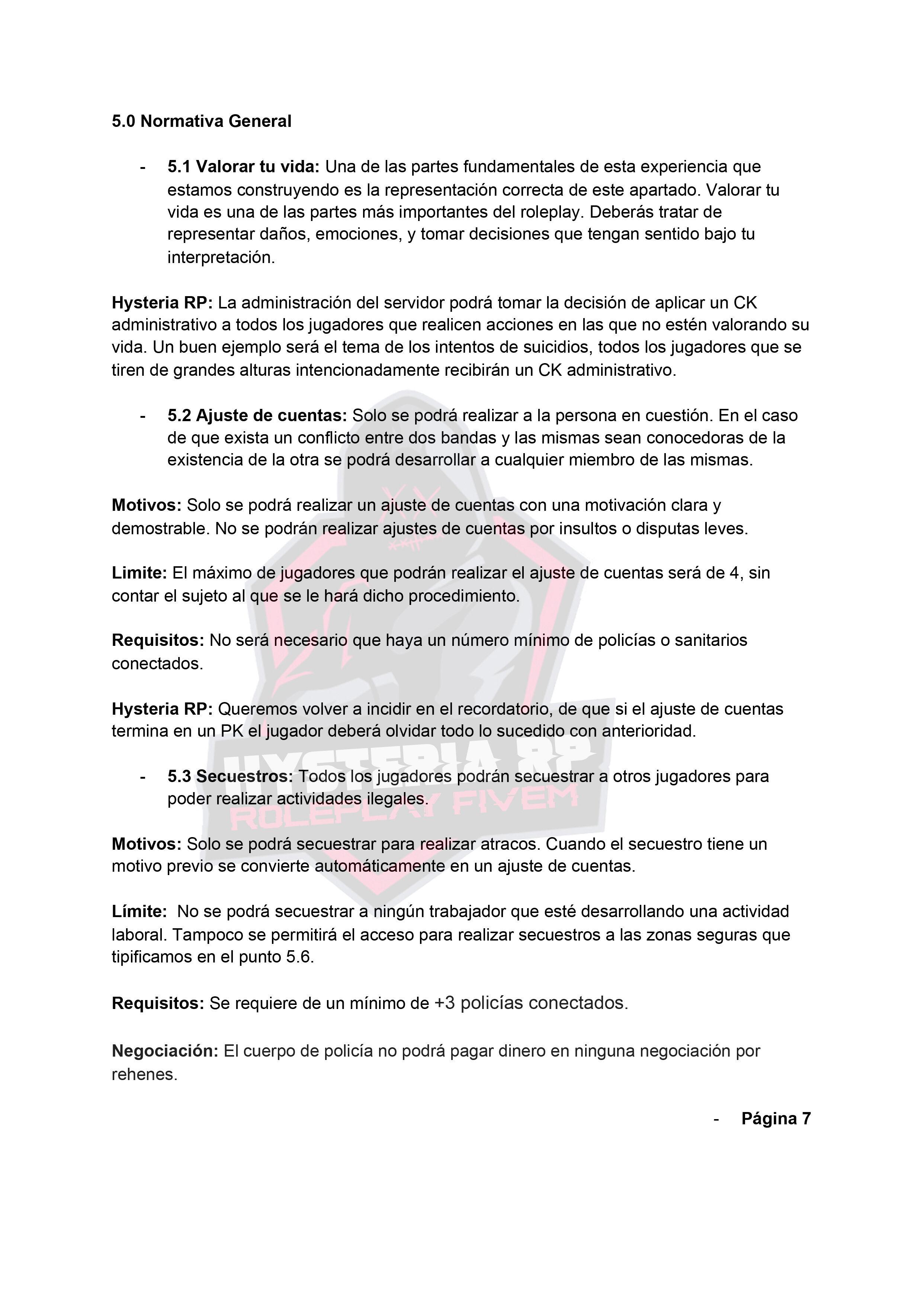 Normativa General | Hysteria RP Normat19