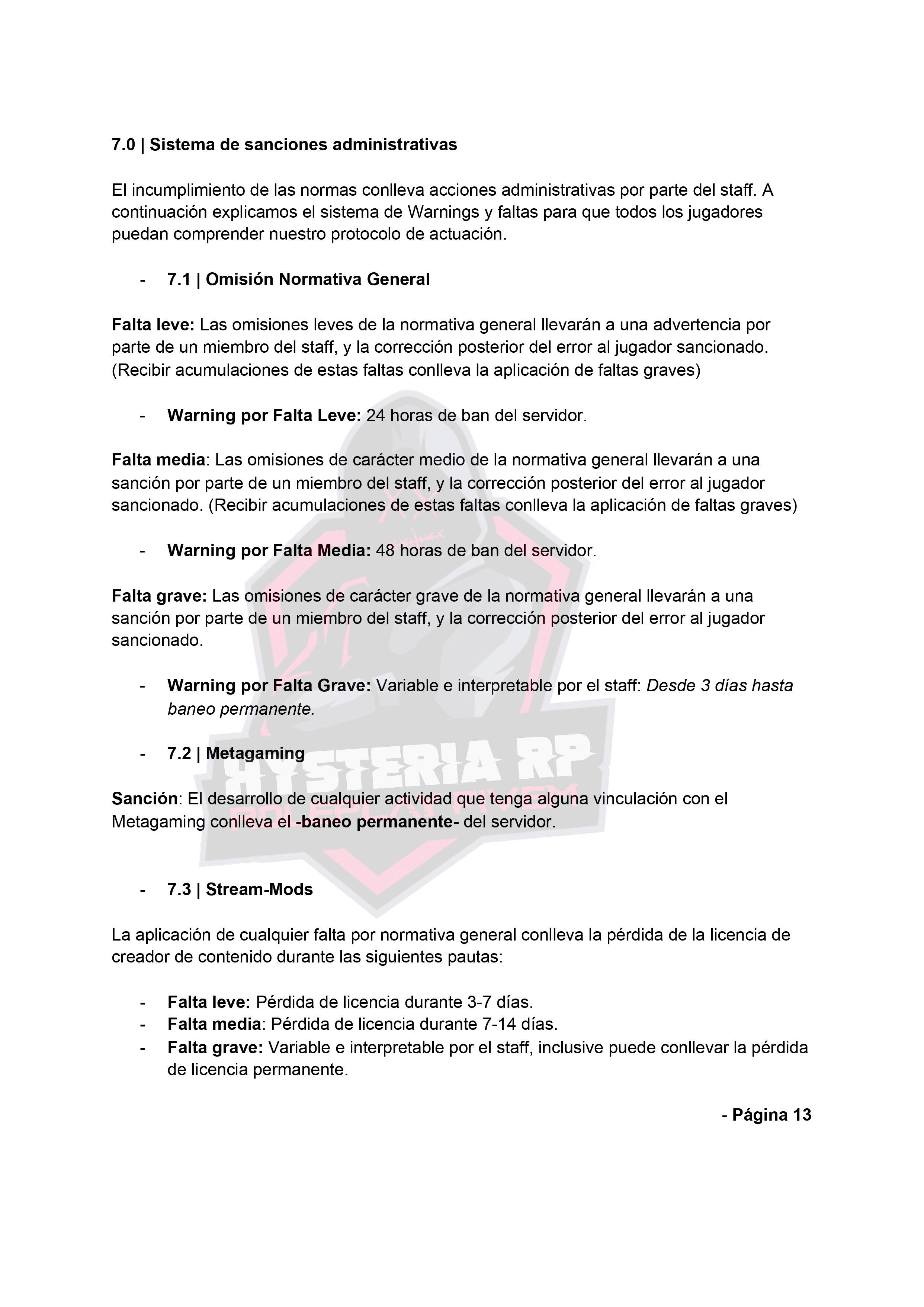Normativa General | Hysteria RP Normat23