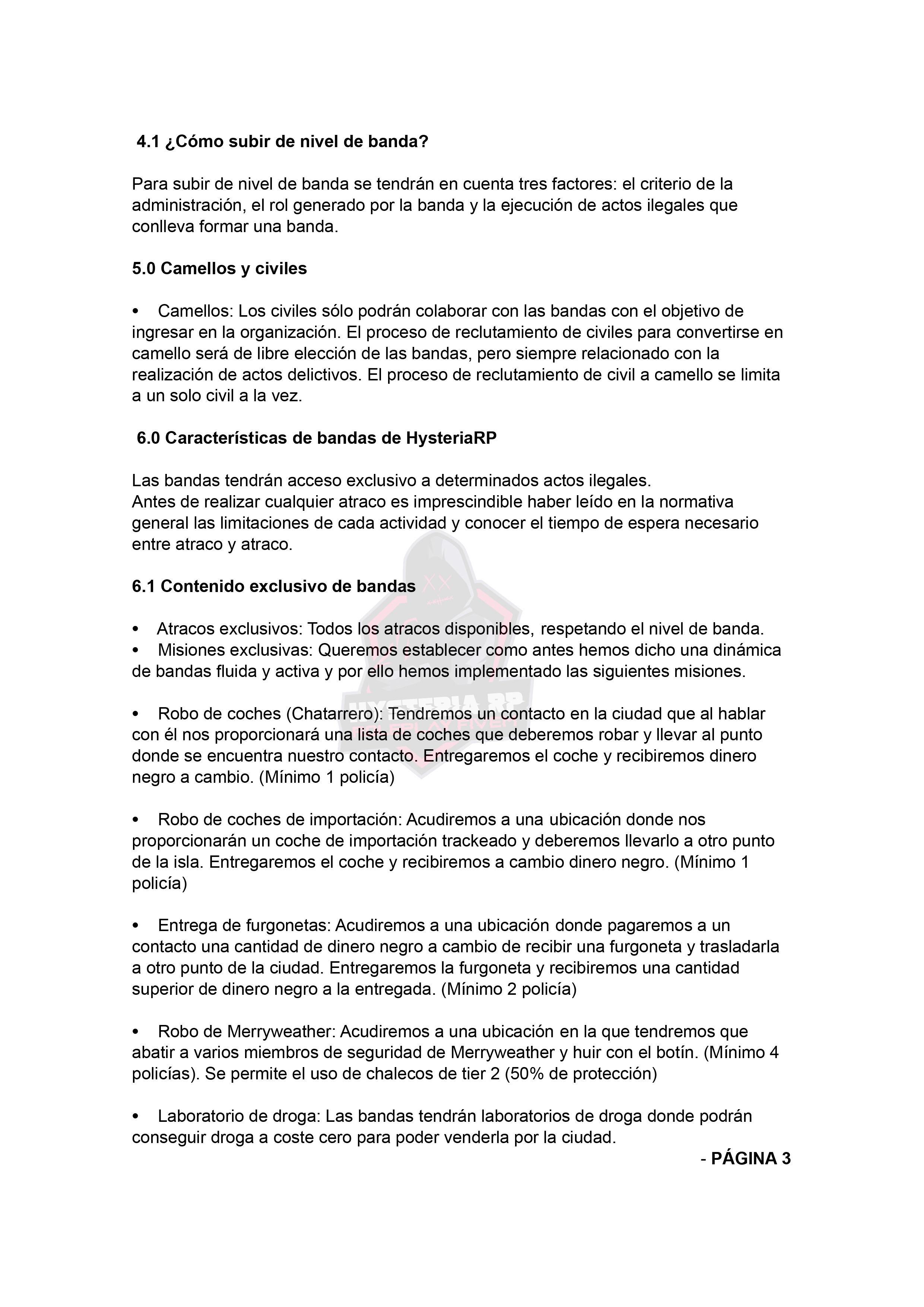 Normativa de Bandas | Hysteria RP Normat24