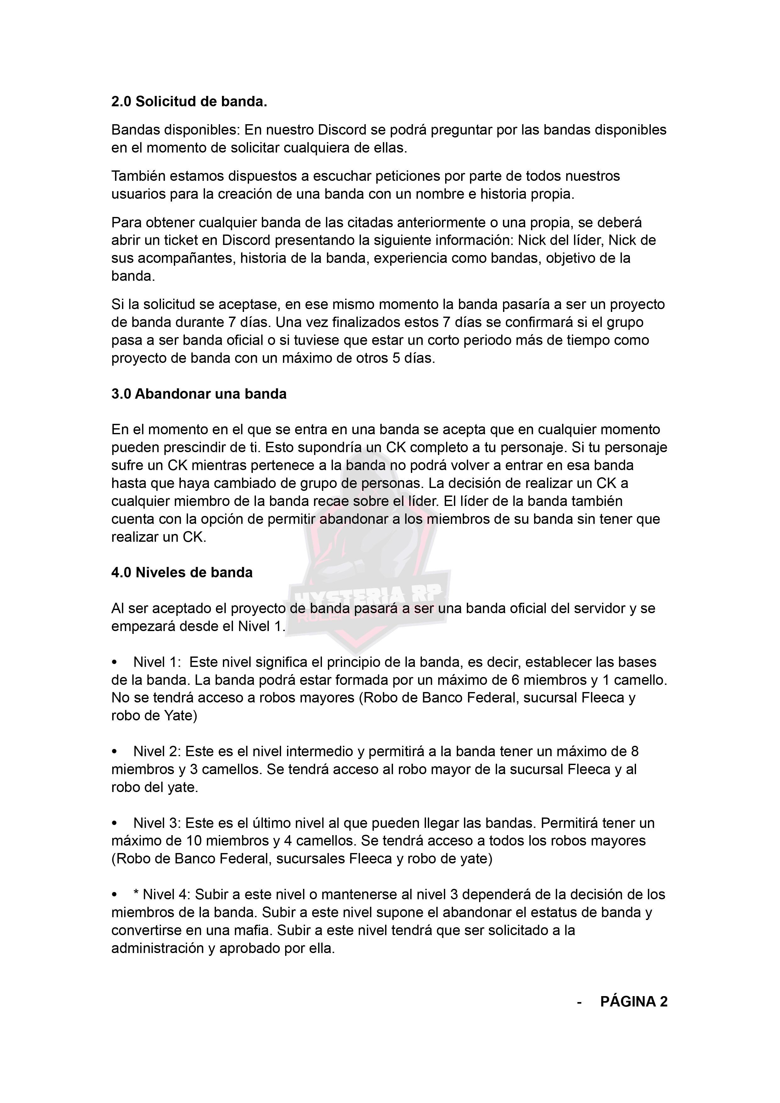 Normativa de Bandas | Hysteria RP Normat25