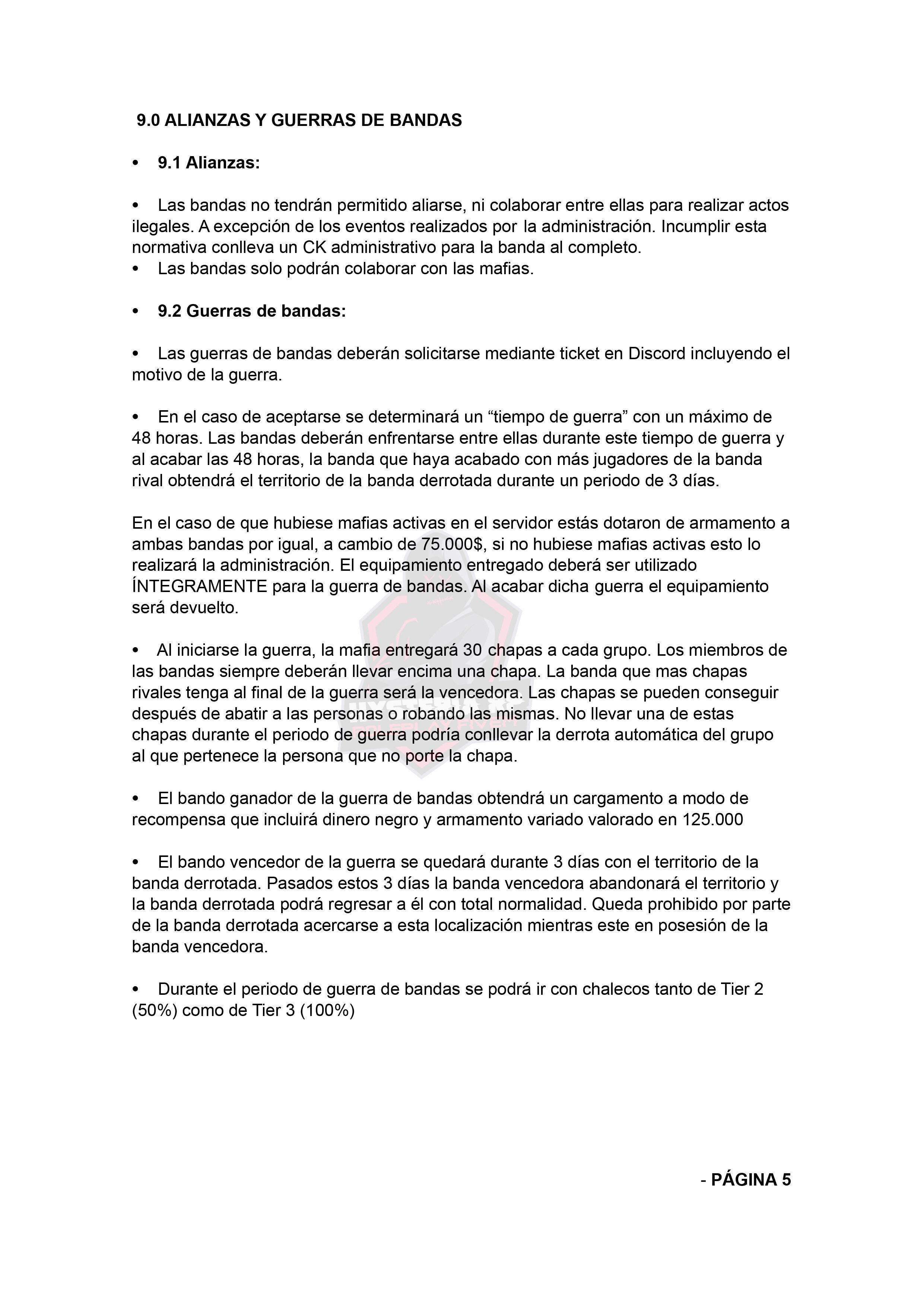 Normativa de Bandas | Hysteria RP Normat29