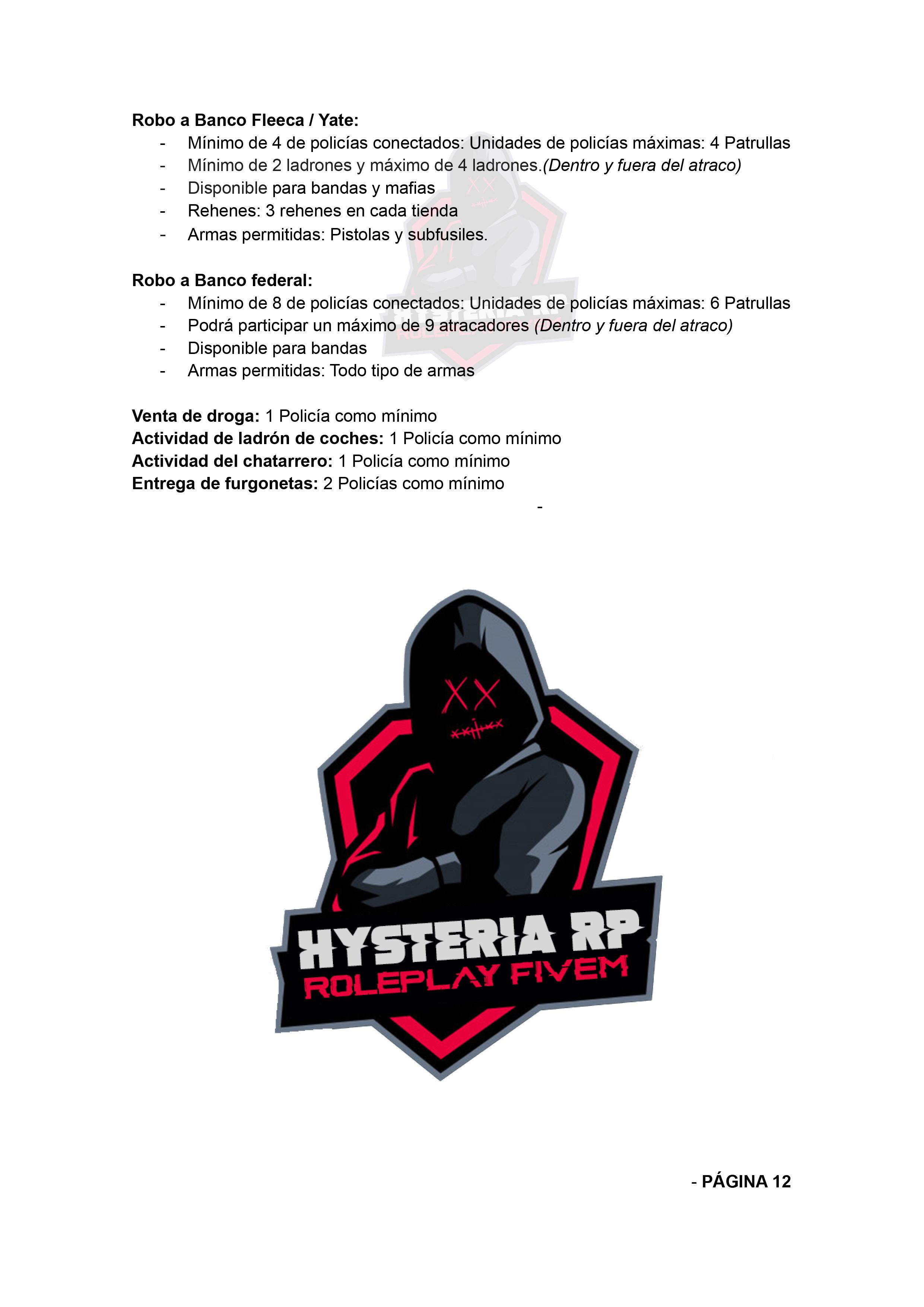 Normativa de Bandas | Hysteria RP Normat33