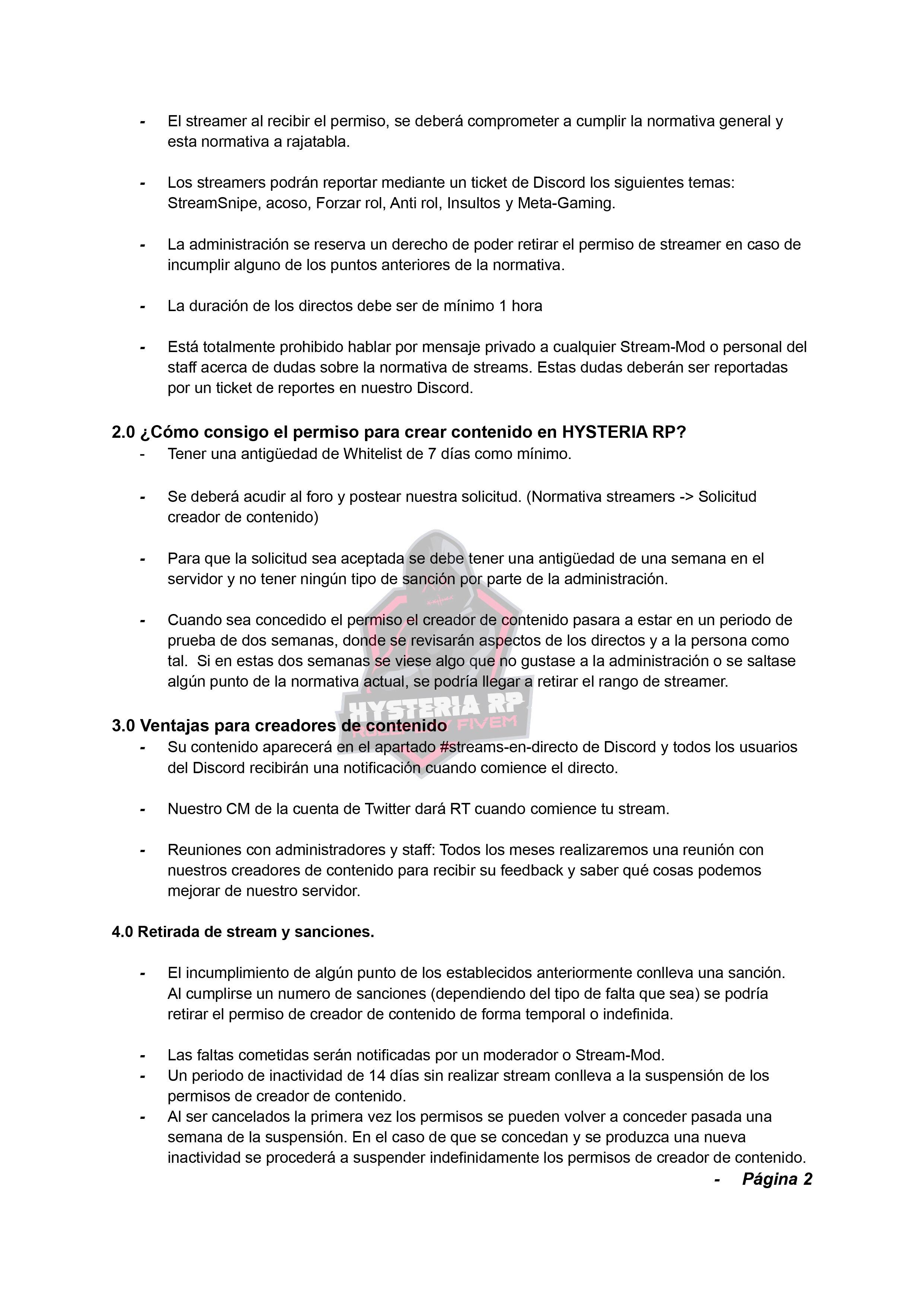 Normativa de Streamers | Hysteria RP Normat36