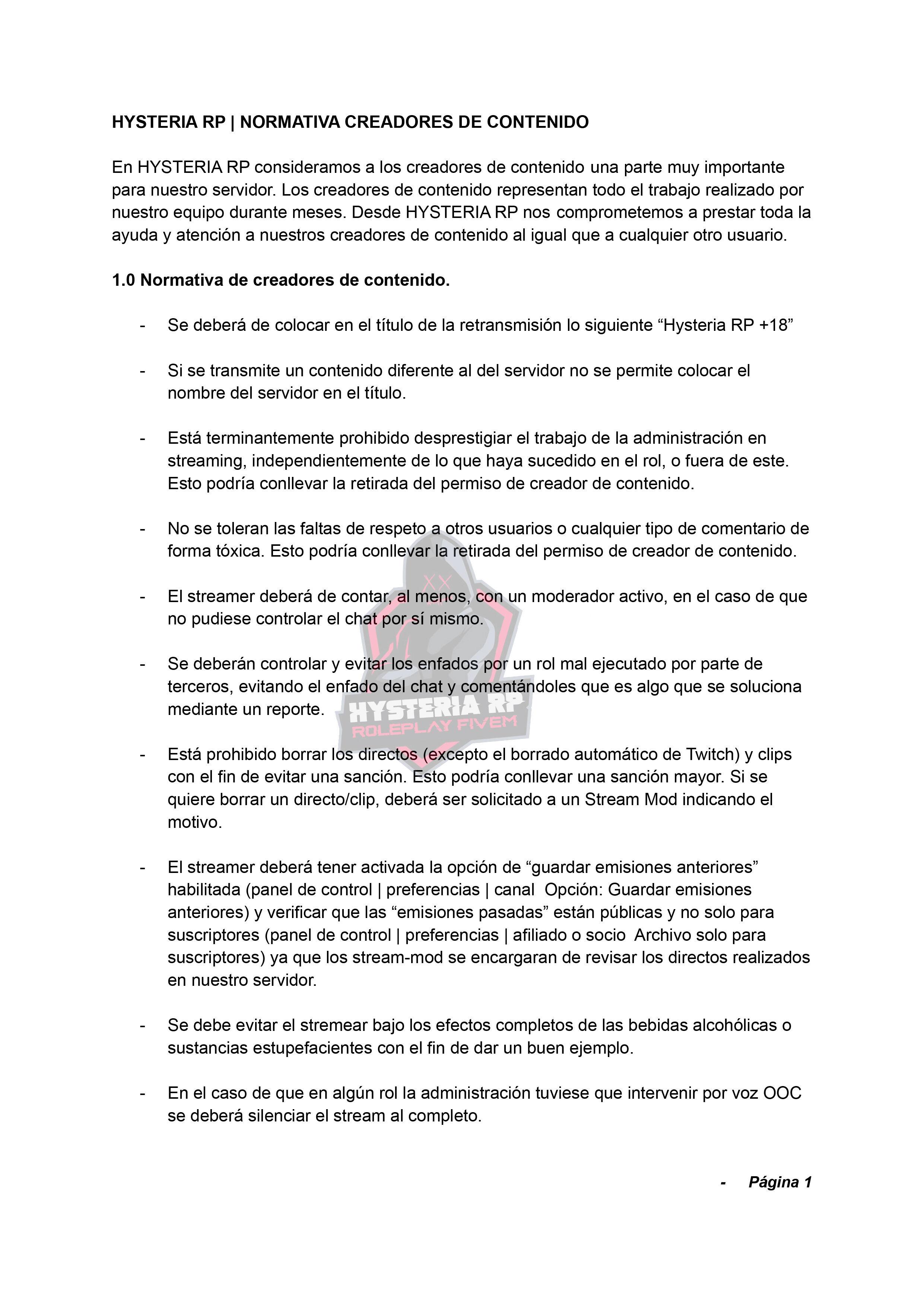 Normativa de Streamers | Hysteria RP Normat37