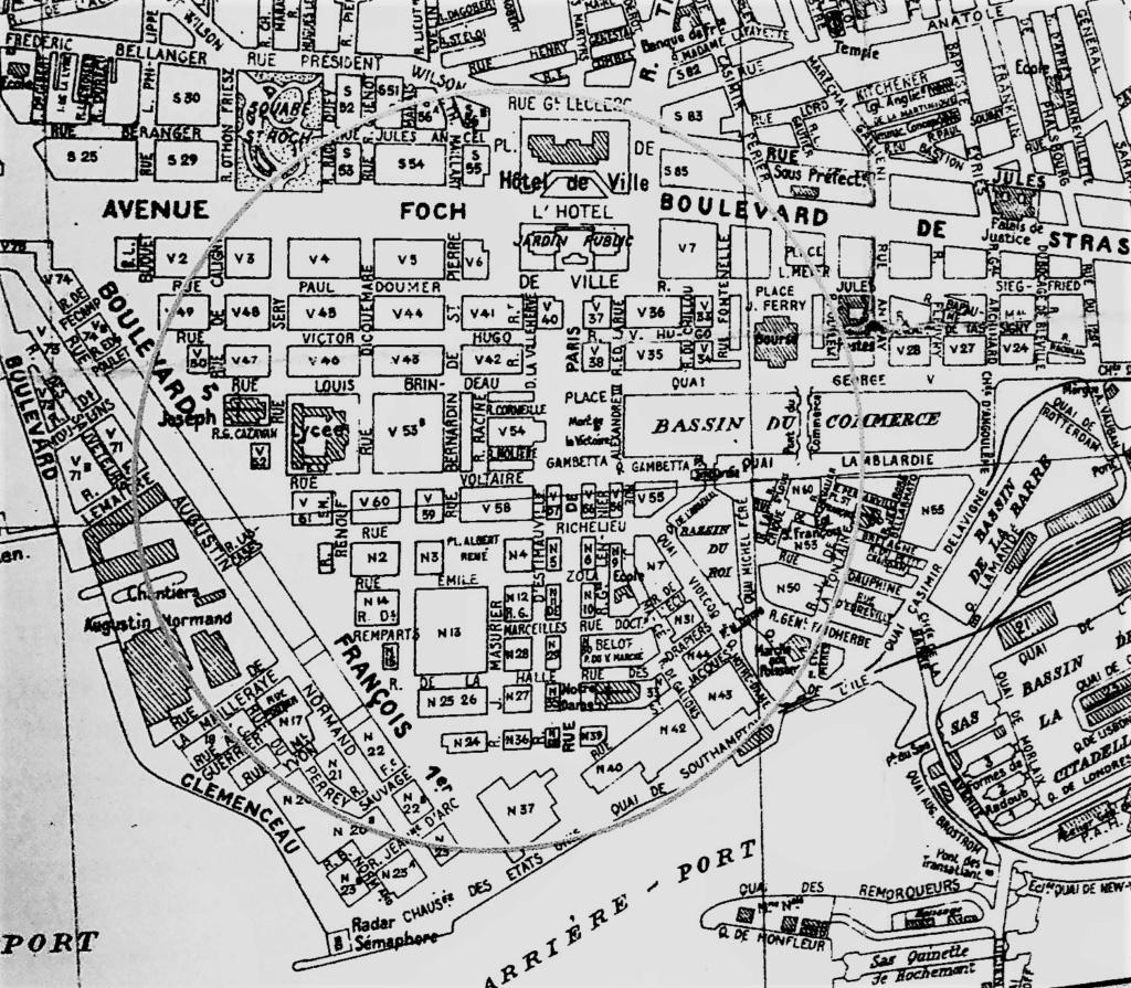 Havre - Les n° des îlots du centre ville du Havre en 1951 1951_l10