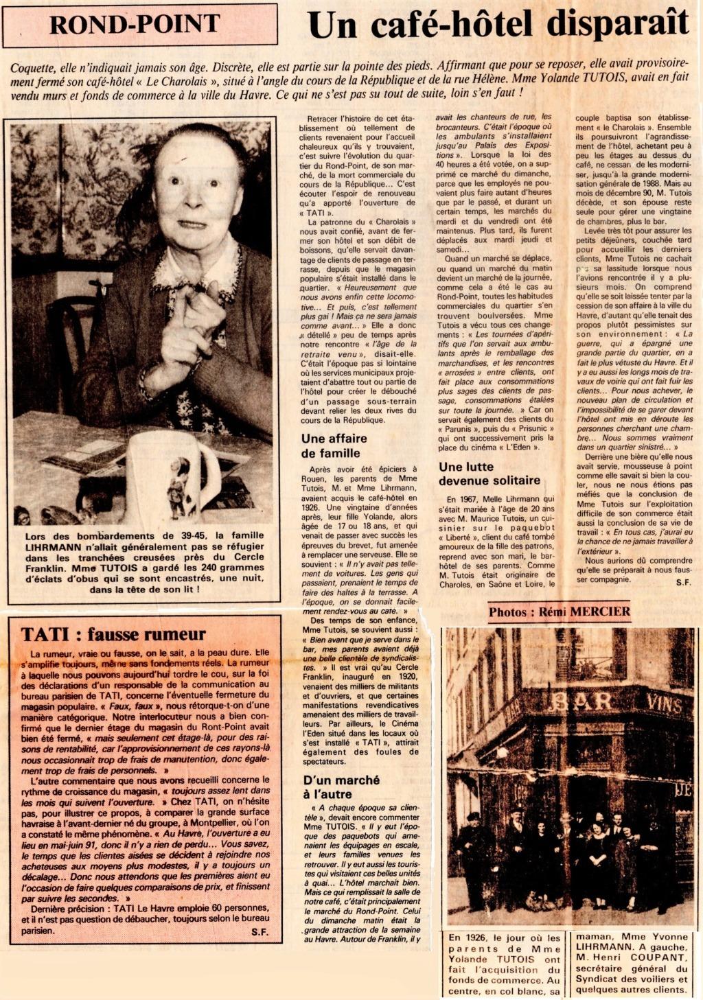 Havre - Le Havre - Hôtel Charolais de la famille LIHRMANN au Rond-Point 1992-110