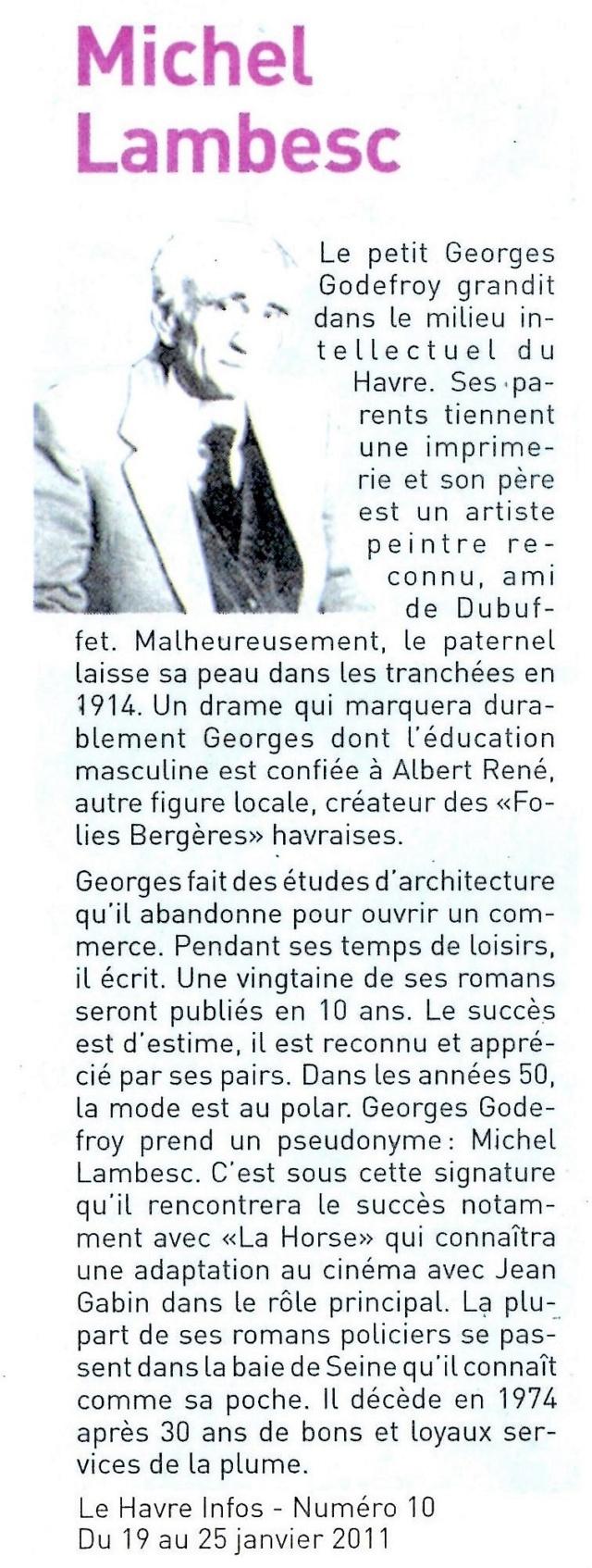 Michel LAMBESC (Georges GODEFROY) (Ecrivain) 2011-016