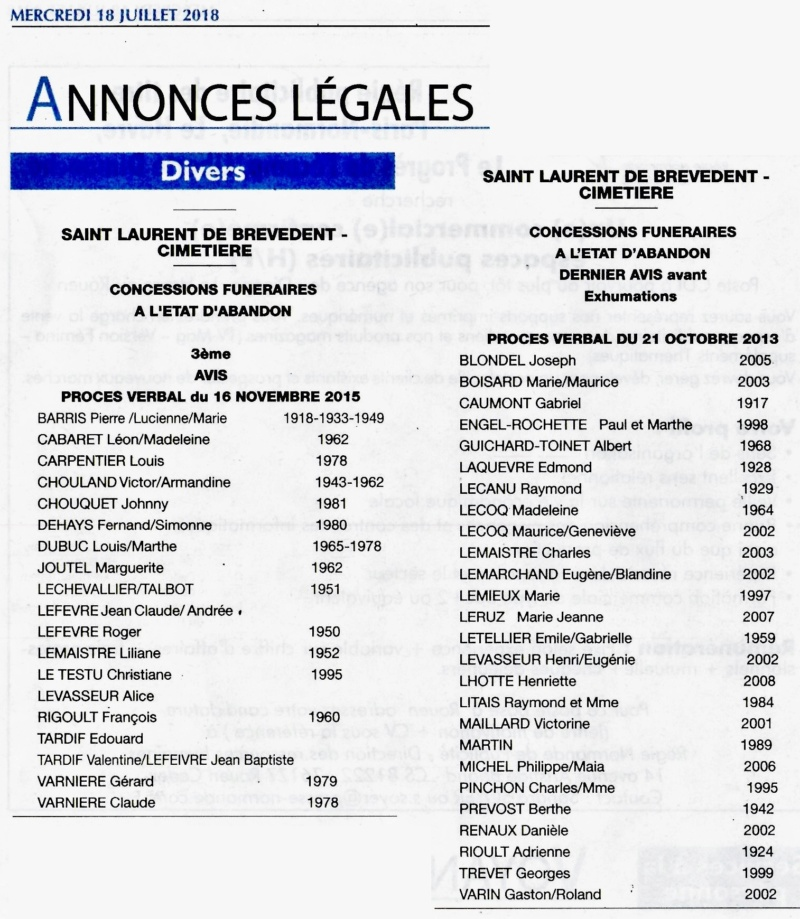 Saint-Laurent-de-Brèvedent - Concessions funéraires à l'abandon 2018-033
