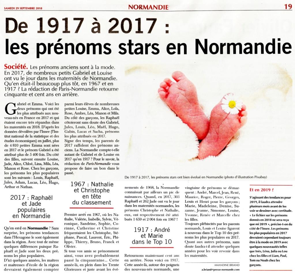 Les prénoms en Normandie en 1917 - 1967 - 2017 2018-050