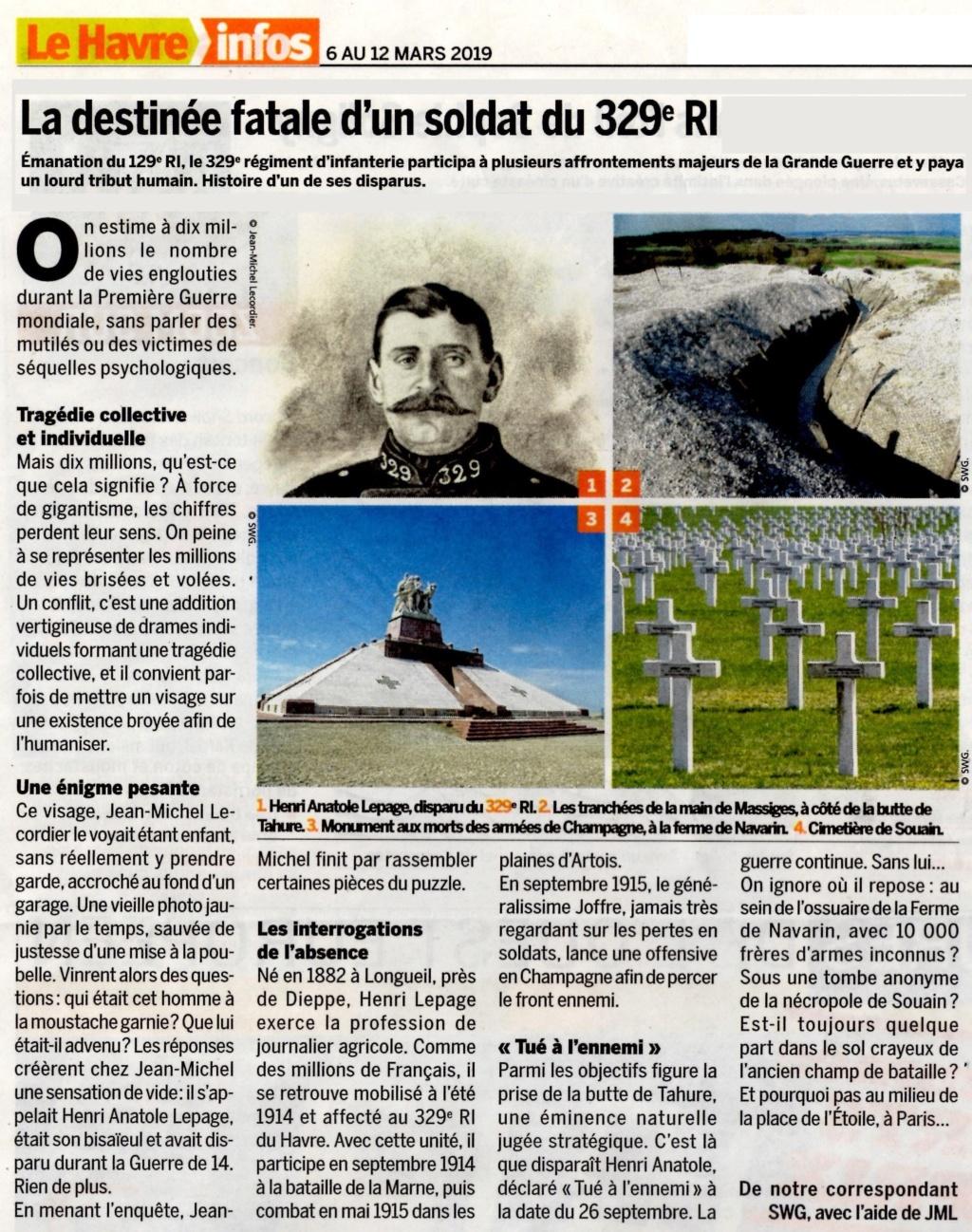 LEPAGE - La destinée fatale d'un soldat du 329è RI 2019-152
