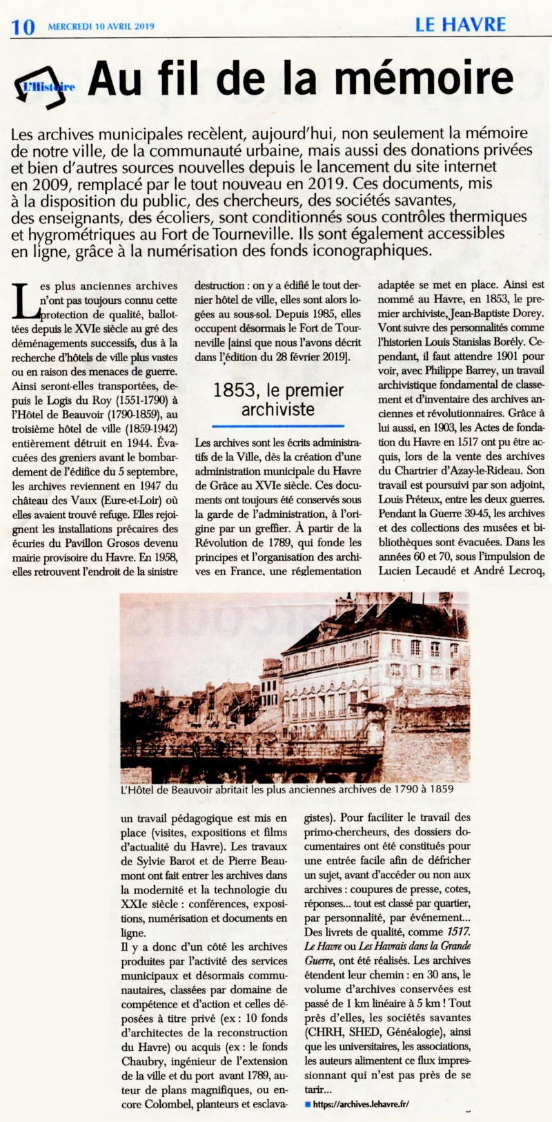 Archives Municipales du Havre - Notre histoire à tous 2019-160
