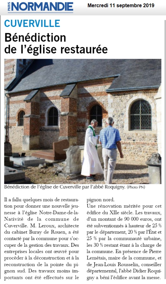 Cuverville - Bénédiction d'une église restaurée 2019-190