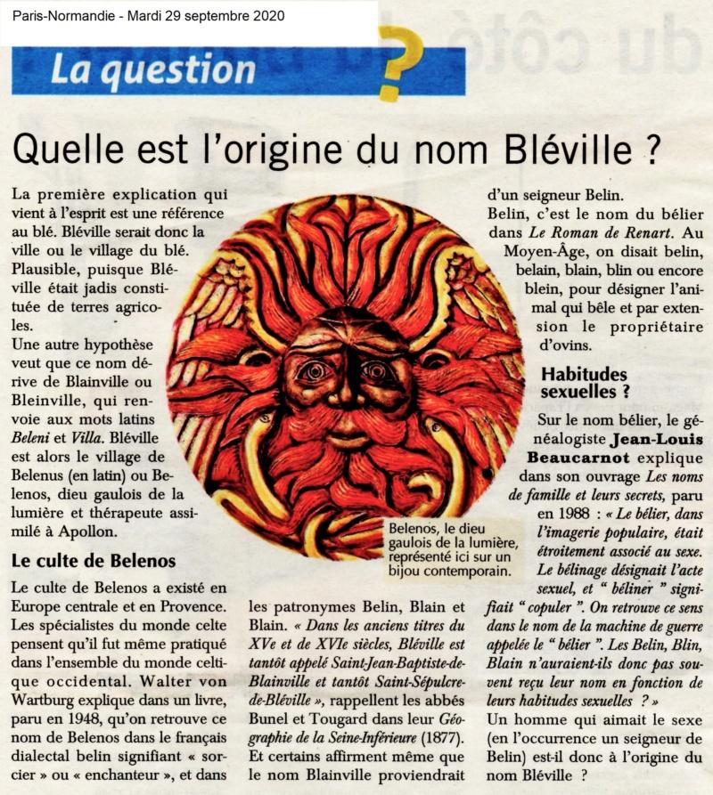 bléville - Quelle est l'origine du nom Bléville ? 2020-182